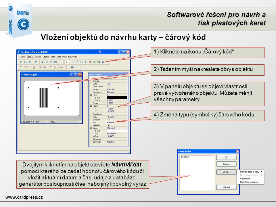 Vložení objektů do návrhu karty – čárový kód