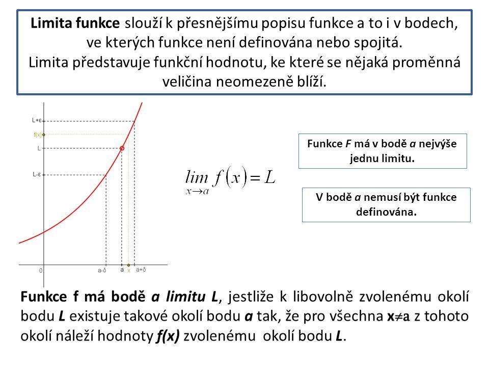 Limita funkce slouží k přesnějšímu popisu funkce a to i v bodech, ve kterých funkce není definována nebo spojitá.