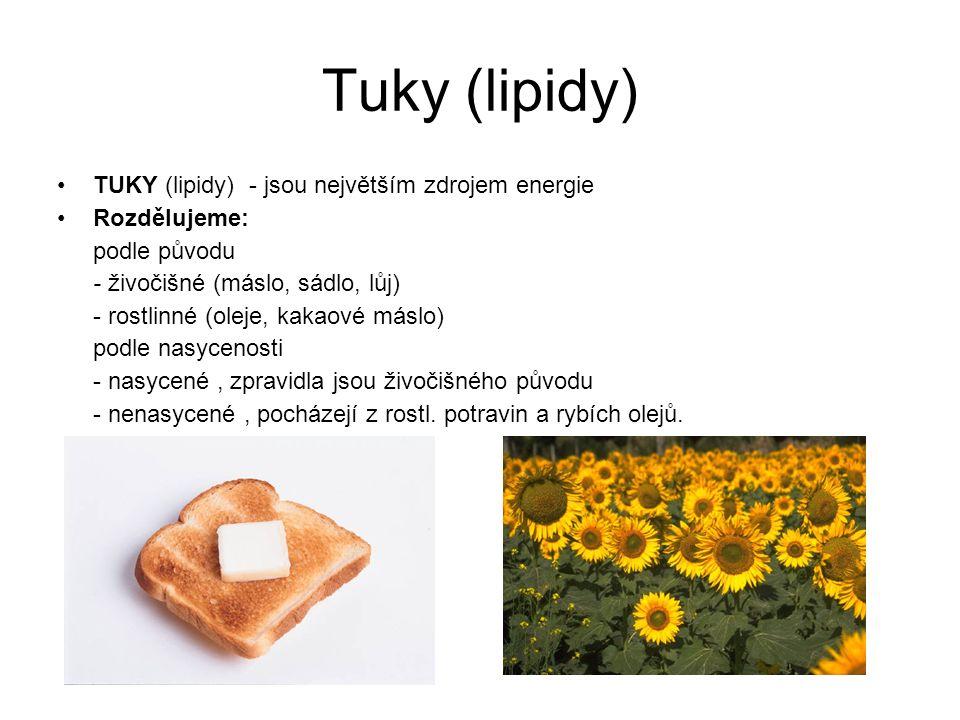 Tuky (lipidy) TUKY (lipidy) - jsou největším zdrojem energie