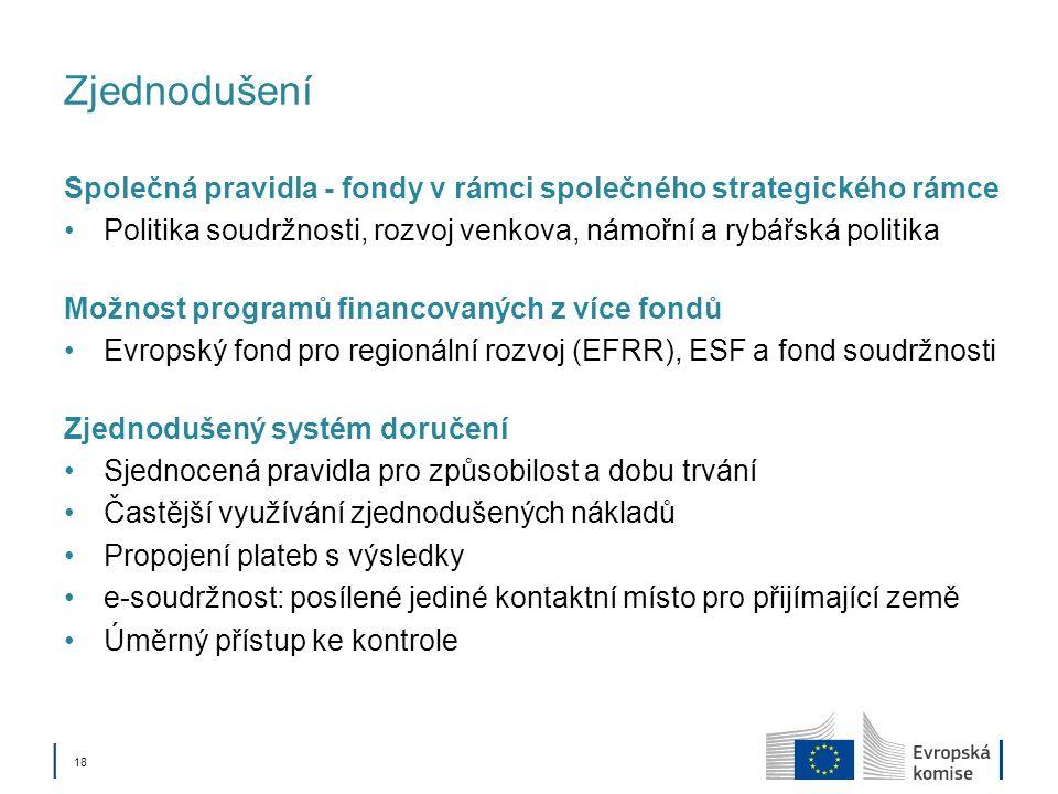 Zjednodušení Společná pravidla - fondy v rámci společného strategického rámce. Politika soudržnosti, rozvoj venkova, námořní a rybářská politika.