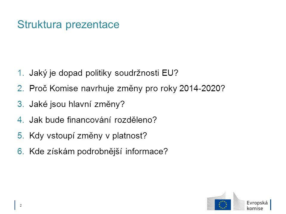 Struktura prezentace Jaký je dopad politiky soudržnosti EU