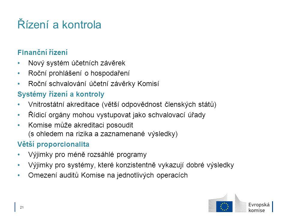Řízení a kontrola Finanční řízení Nový systém účetních závěrek