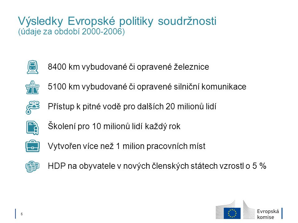 Výsledky Evropské politiky soudržnosti (údaje za období 2000-2006)