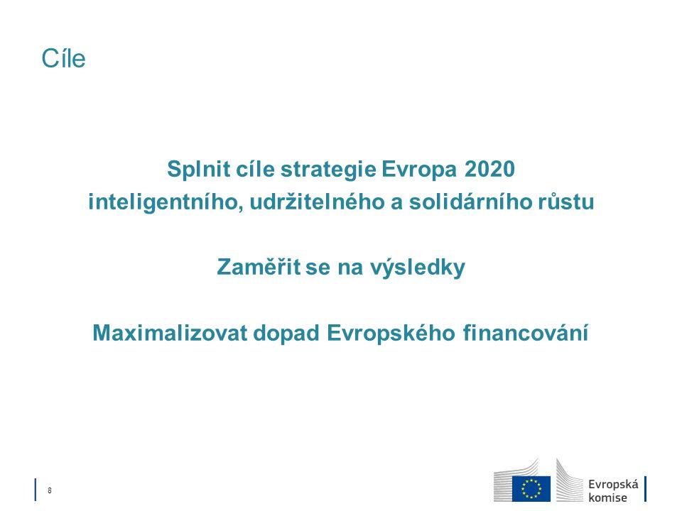 Cíle Splnit cíle strategie Evropa 2020