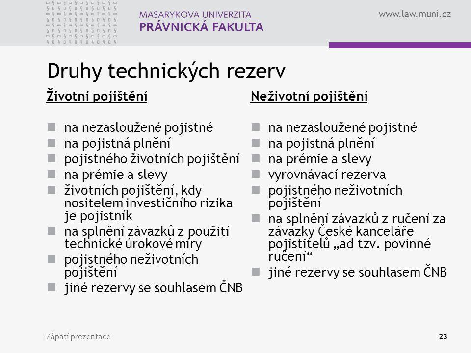 Druhy technických rezerv