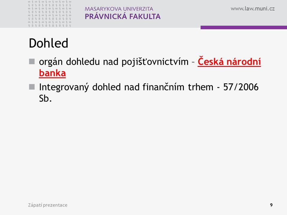 Dohled orgán dohledu nad pojišťovnictvím – Česká národní banka