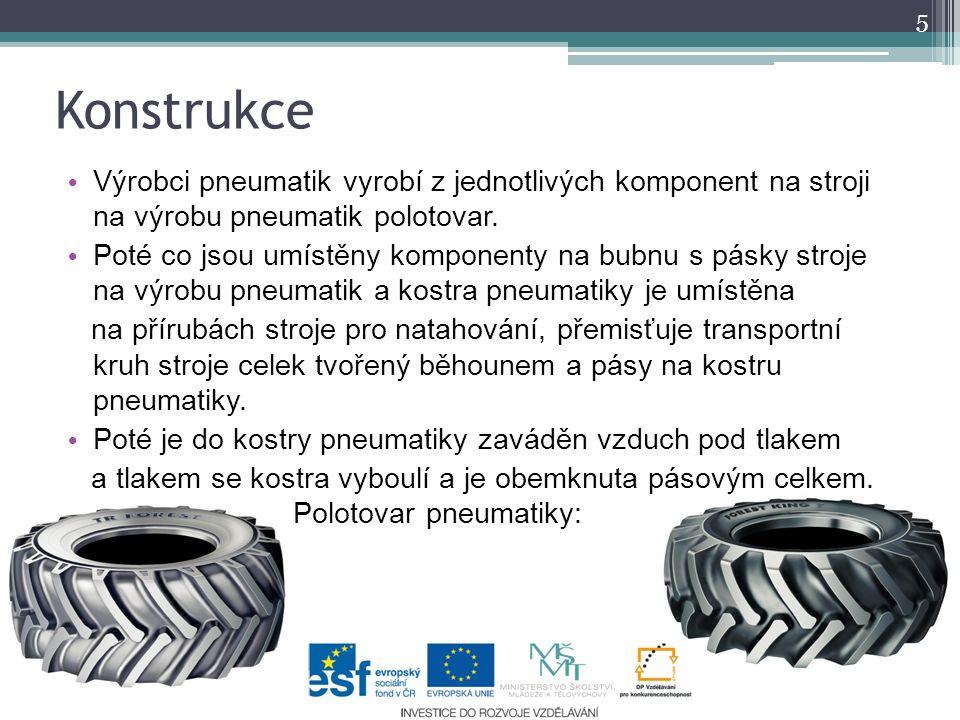 Konstrukce Výrobci pneumatik vyrobí z jednotlivých komponent na stroji na výrobu pneumatik polotovar.