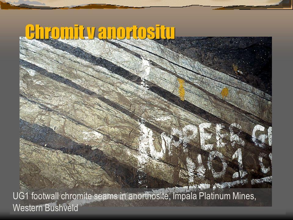 Chromit v anortositu UG1 footwall chromite seams in anorthosite, Impala Platinum Mines, Western Bushveld.