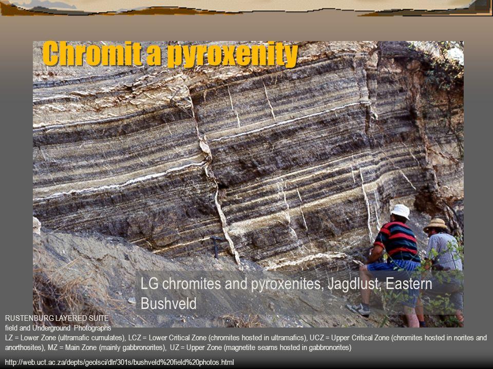 Chromit a pyroxenity LG chromites and pyroxenites, Jagdlust, Eastern Bushveld.