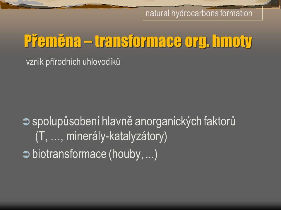 Přeměna – transformace org. hmoty