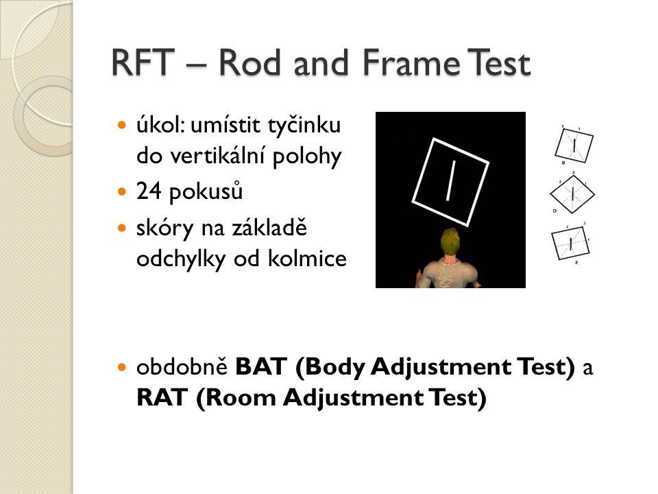 RFT – Rod and Frame Test úkol: umístit tyčinku do vertikální polohy