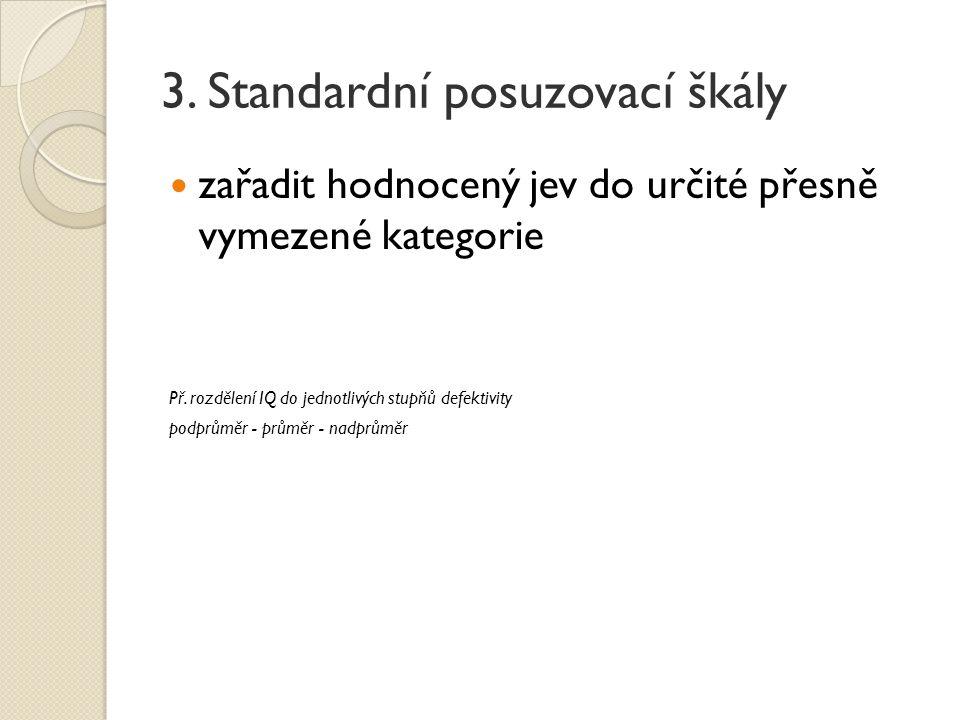 3. Standardní posuzovací škály