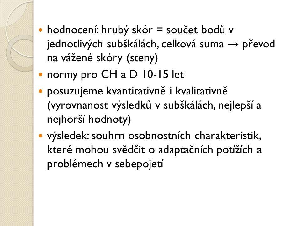 hodnocení: hrubý skór = součet bodů v jednotlivých subškálách, celková suma → převod na vážené skóry (steny)