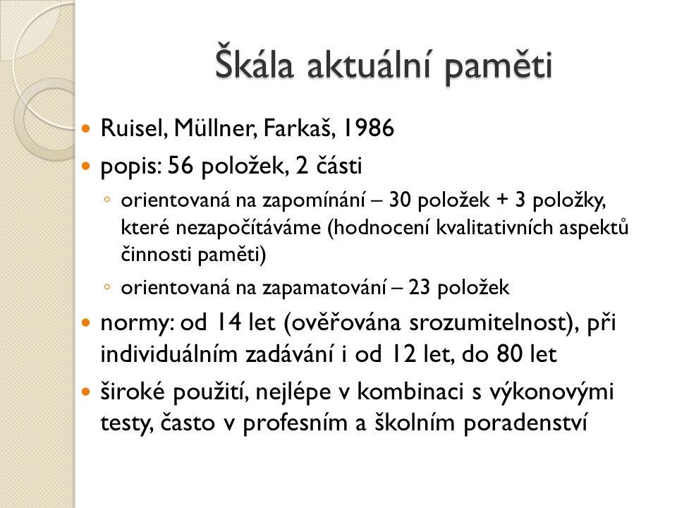 Škála aktuální paměti Ruisel, Müllner, Farkaš, 1986