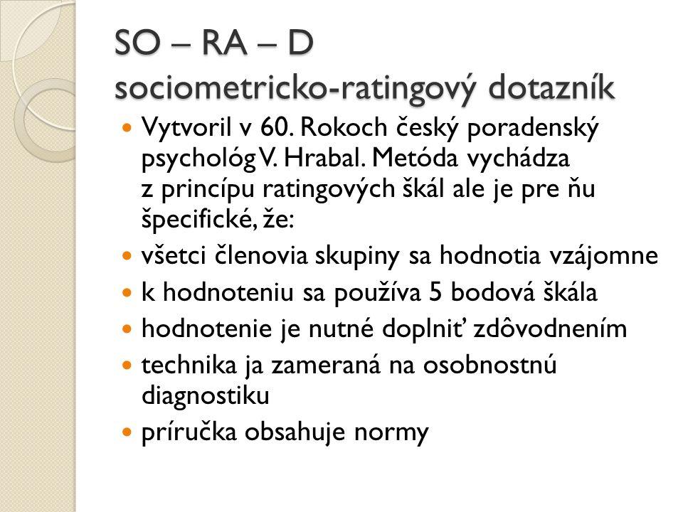 SO – RA – D sociometricko-ratingový dotazník