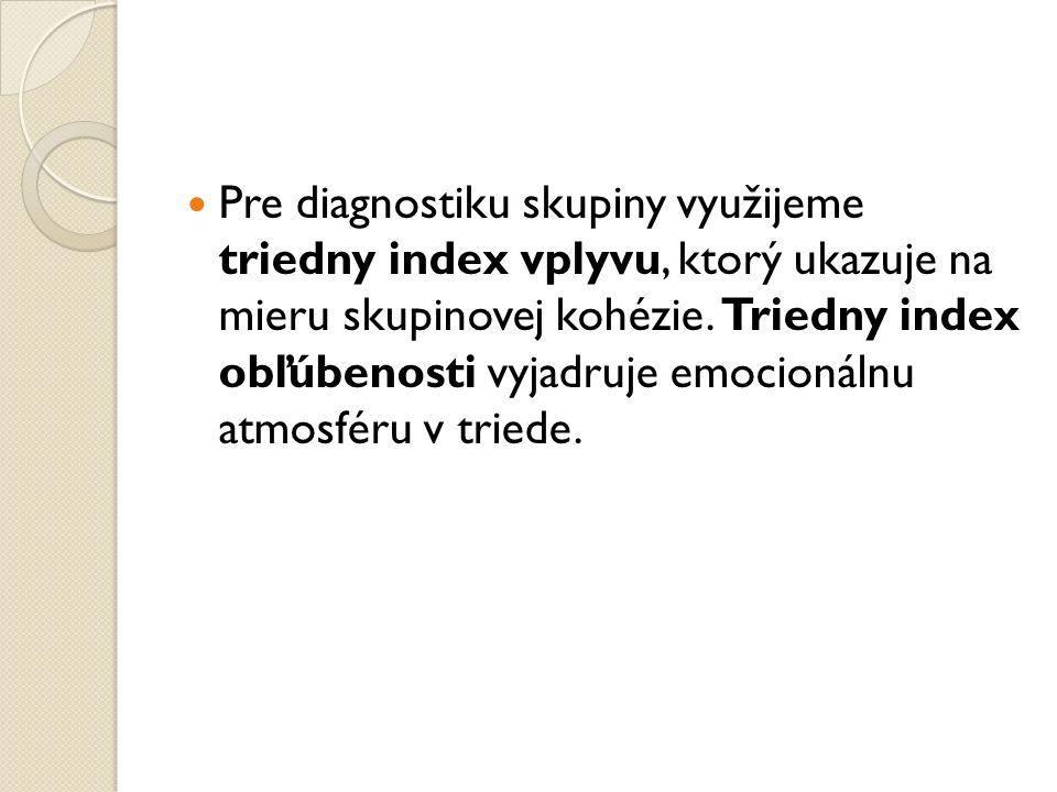 Pre diagnostiku skupiny využijeme triedny index vplyvu, ktorý ukazuje na mieru skupinovej kohézie.