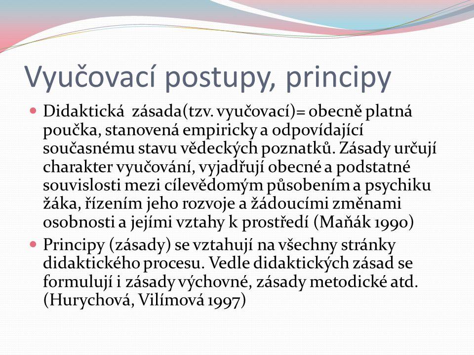 Vyučovací postupy, principy