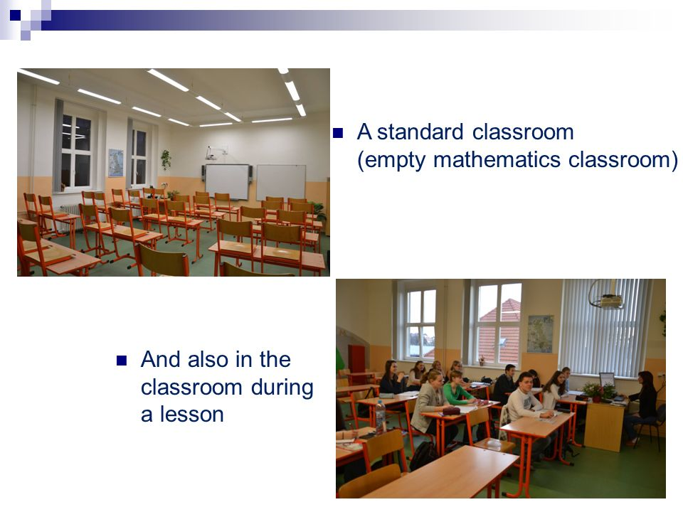 A standard classroom (empty mathematics classroom)