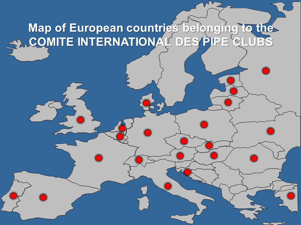 Map of European countries belonging to the COMITE INTERNATIONAL DES PIPE CLUBS