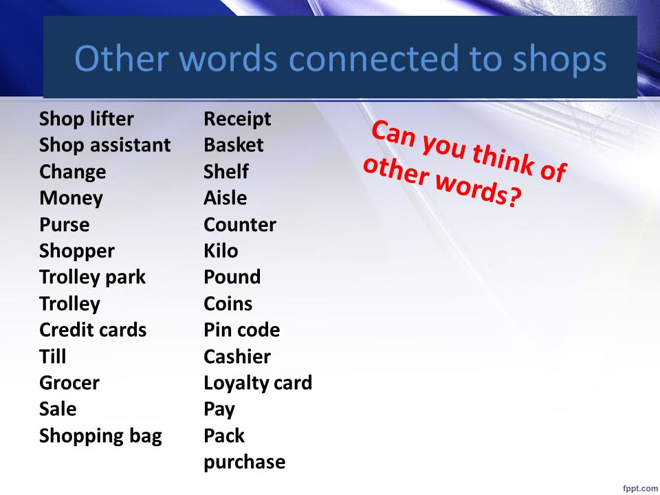 Other words connected to shops