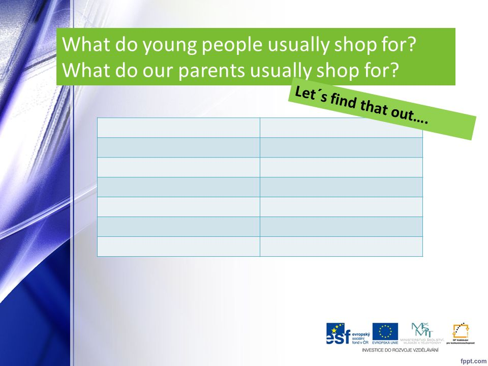 What do young people usually shop for