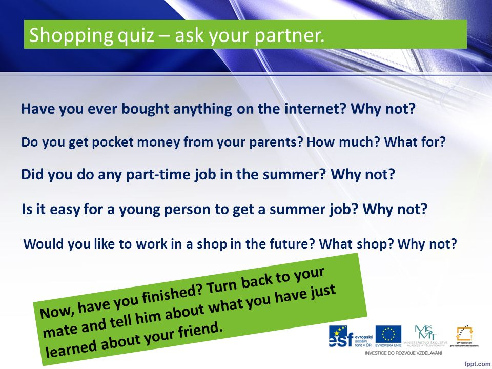 Shopping quiz – ask your partner.