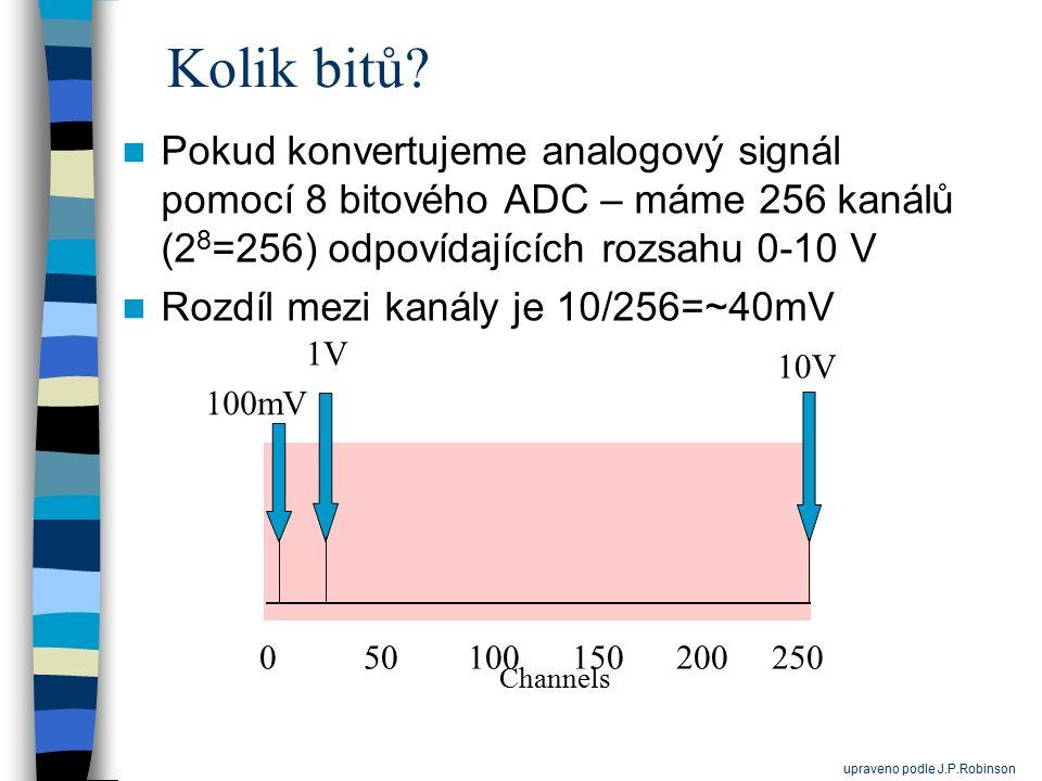 Kolik bitů Pokud konvertujeme analogový signál pomocí 8 bitového ADC – máme 256 kanálů (28=256) odpovídajících rozsahu 0-10 V.