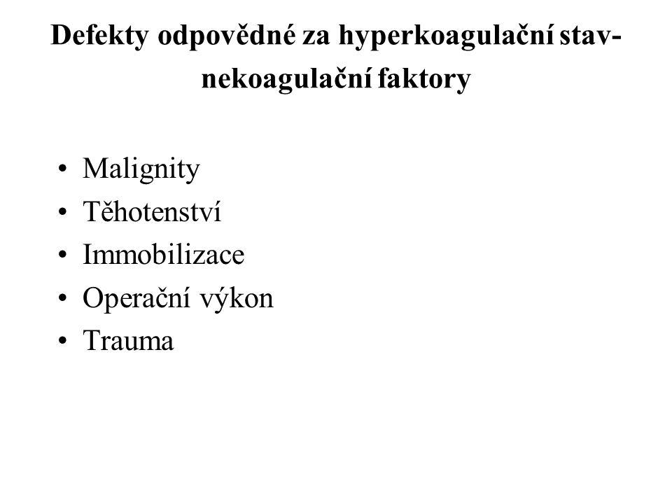 Defekty odpovědné za hyperkoagulační stav- nekoagulační faktory