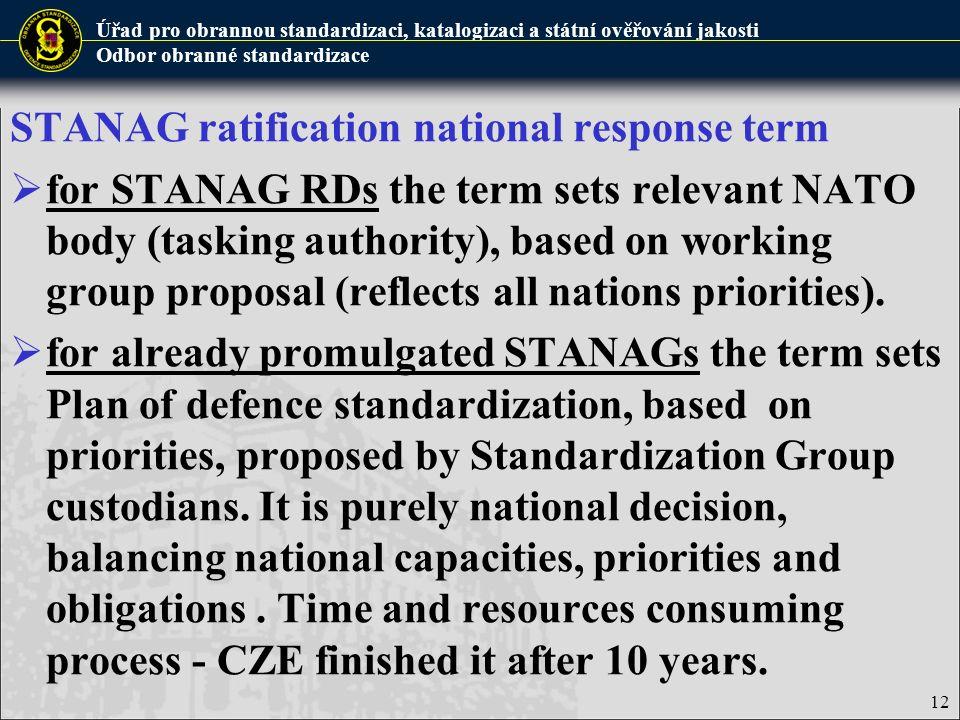 STANAG ratification national response term