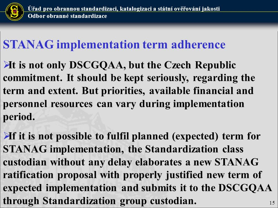 STANAG implementation term adherence