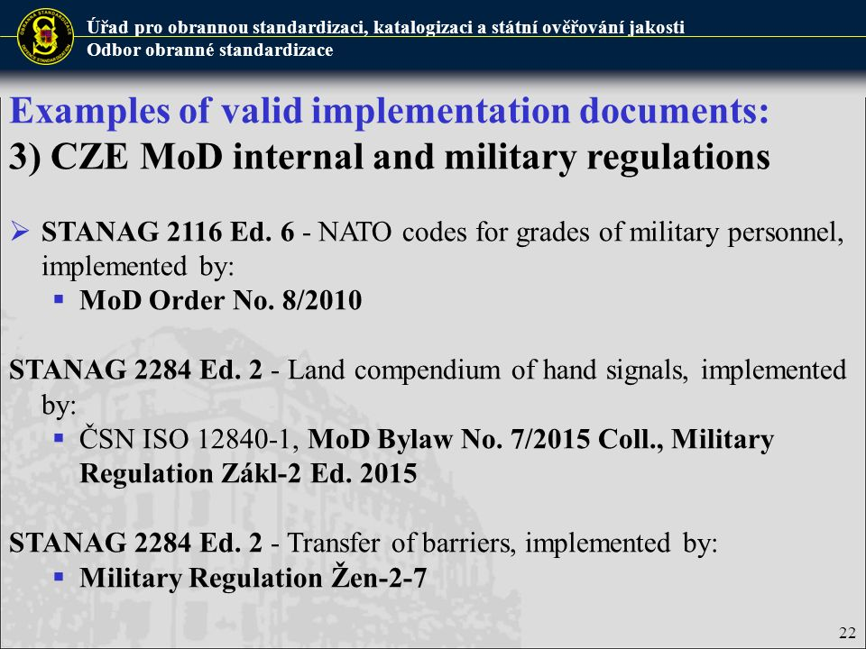 Examples of valid implementation documents: