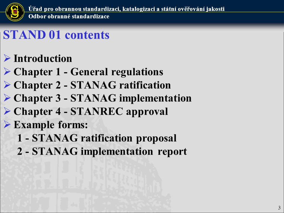 STAND 01 contents Introduction Chapter 1 - General regulations
