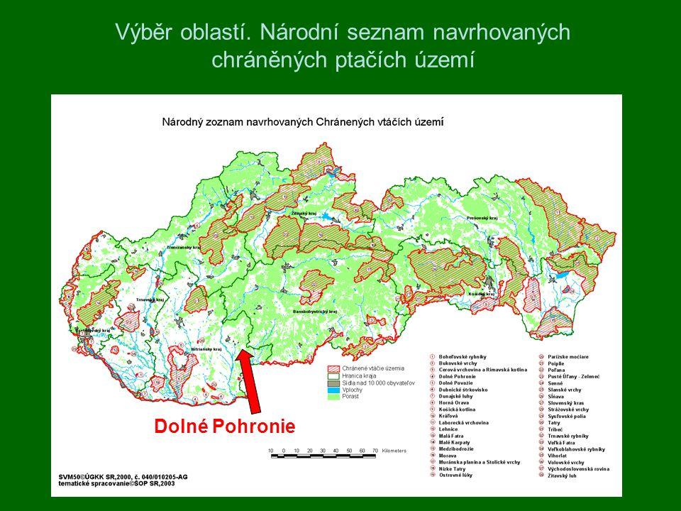 Výběr oblastí. Národní seznam navrhovaných chráněných ptačích území