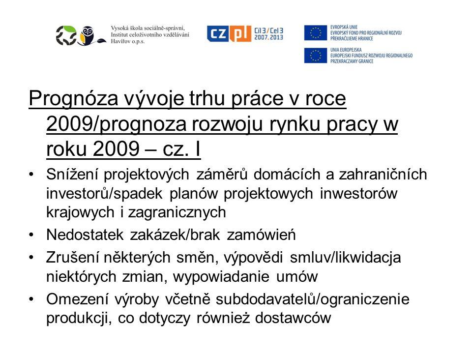 Prognóza vývoje trhu práce v roce 2009/prognoza rozwoju rynku pracy w roku 2009 – cz. I
