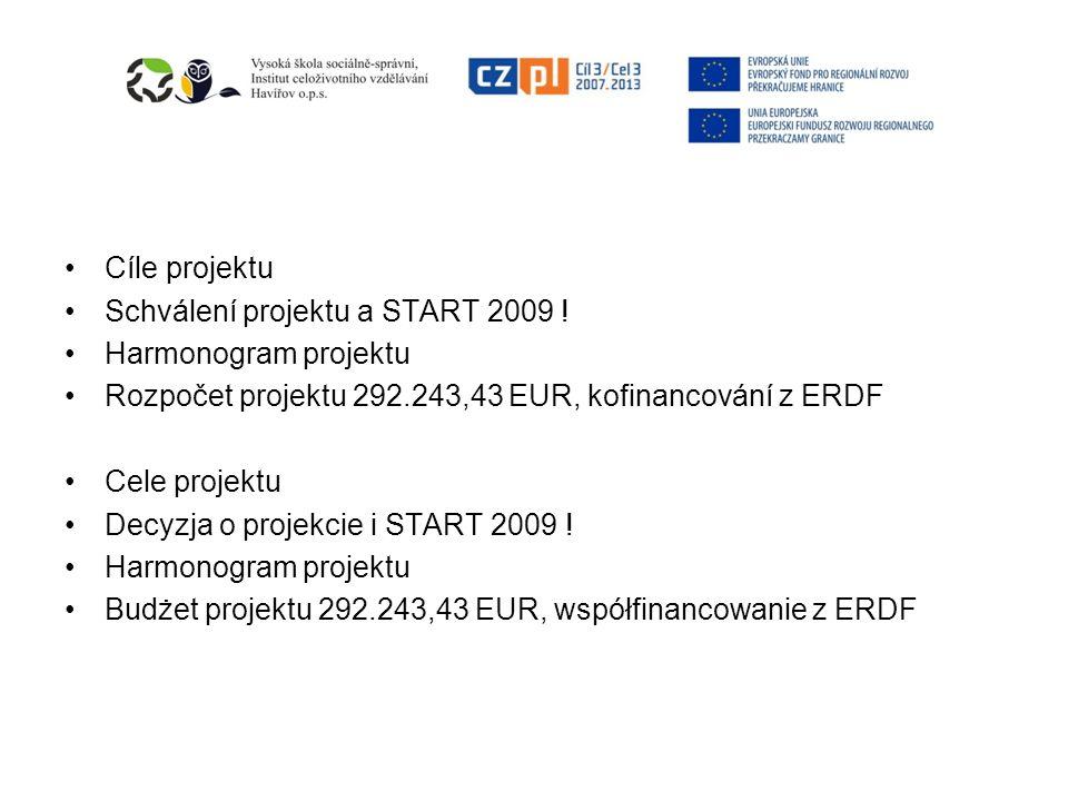 Cíle projektu Schválení projektu a START 2009 ! Harmonogram projektu. Rozpočet projektu 292.243,43 EUR, kofinancování z ERDF.