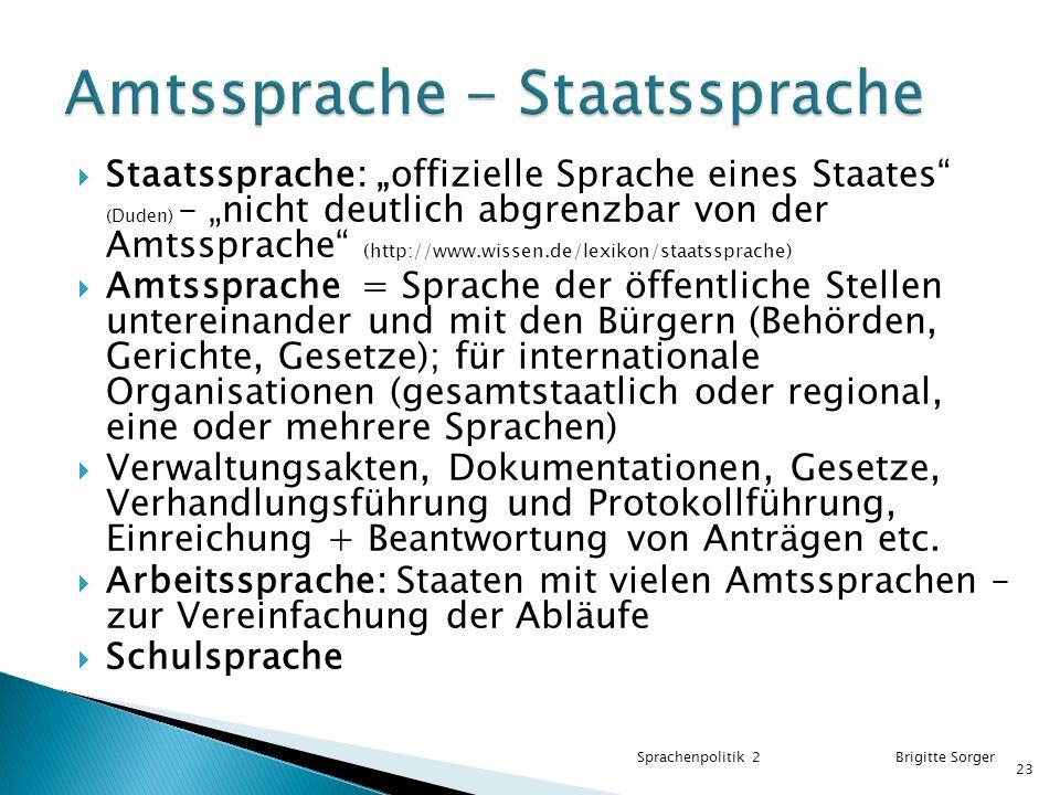Amtssprache - Staatssprache