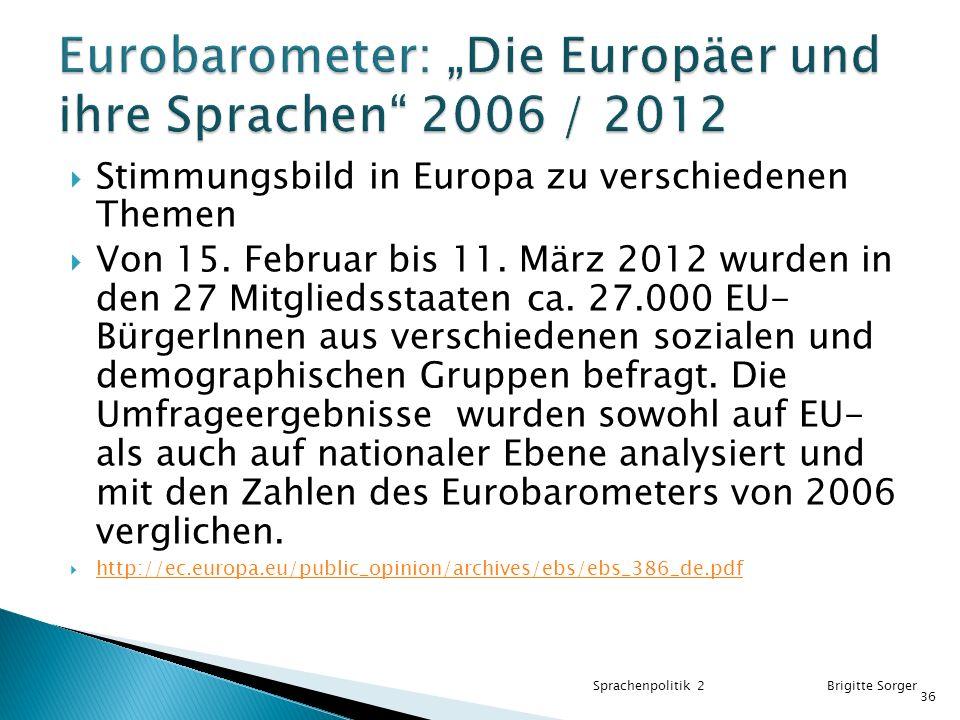 """Eurobarometer: """"Die Europäer und ihre Sprachen 2006 / 2012"""
