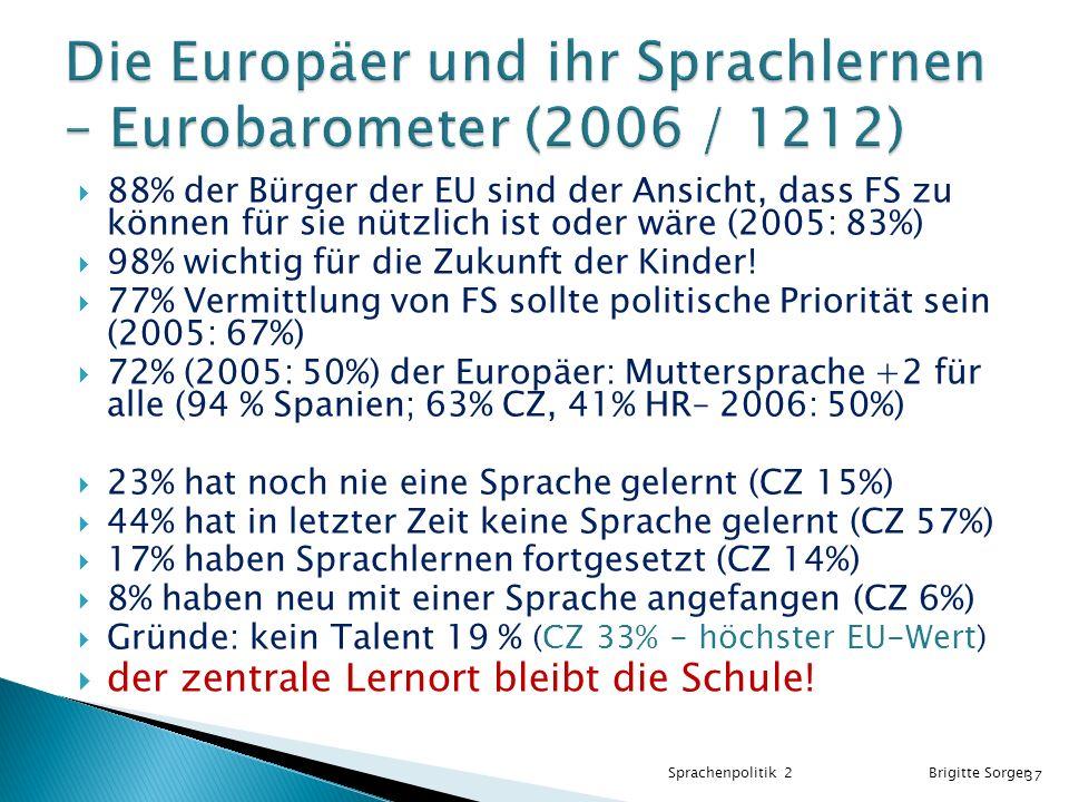 Die Europäer und ihr Sprachlernen – Eurobarometer (2006 / 1212)