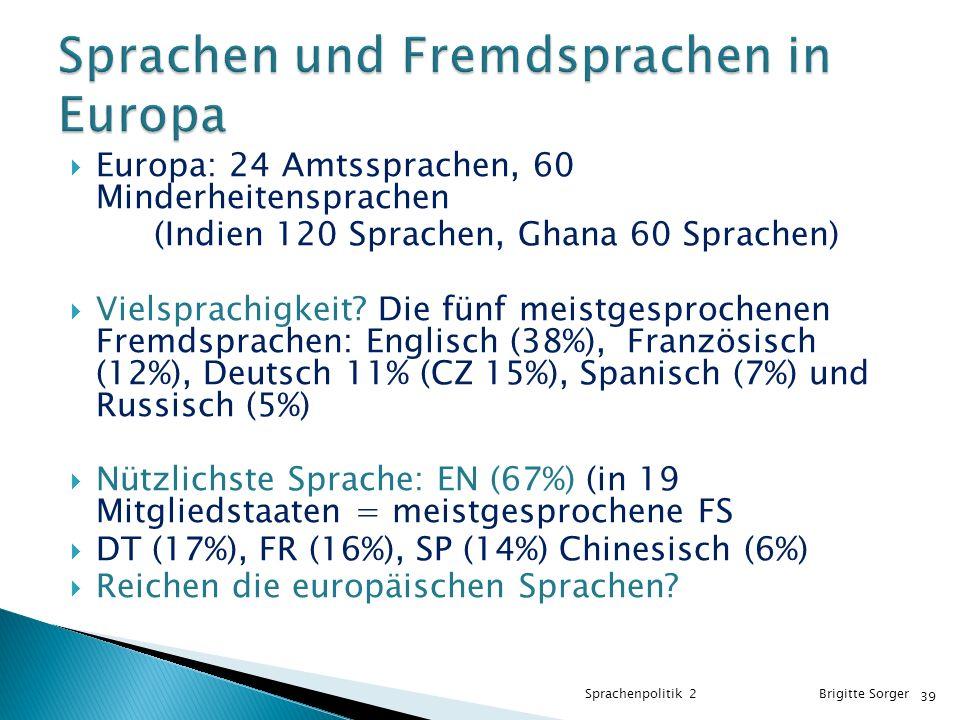 Sprachen und Fremdsprachen in Europa