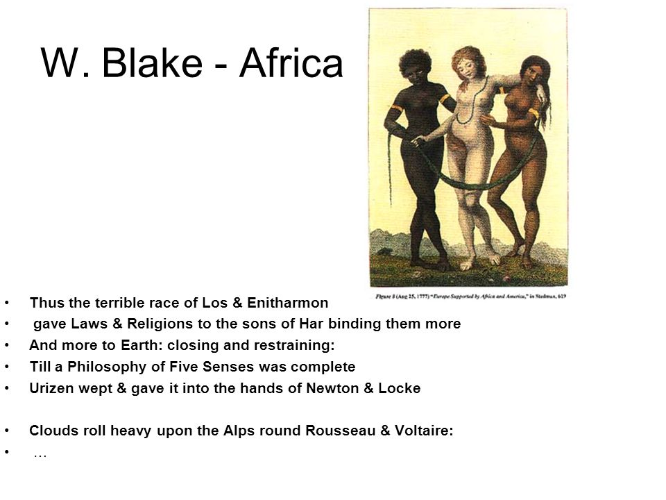 W. Blake - Africa Thus the terrible race of Los & Enitharmon