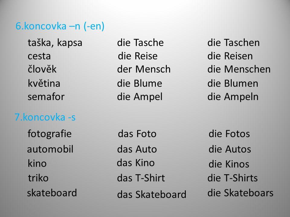 6.koncovka –n (-en) taška, kapsa. die Tasche. die Taschen. cesta. die Reise. die Reisen. člověk.