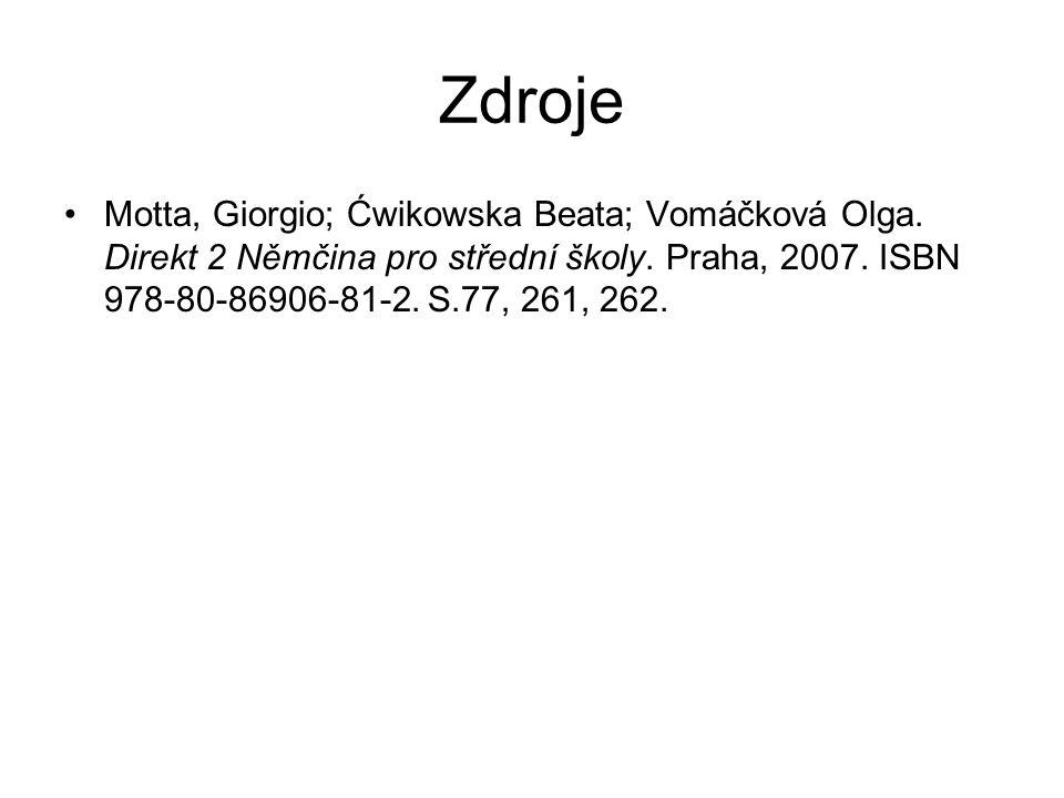 ZdrojeMotta, Giorgio; Ćwikowska Beata; Vomáčková Olga.