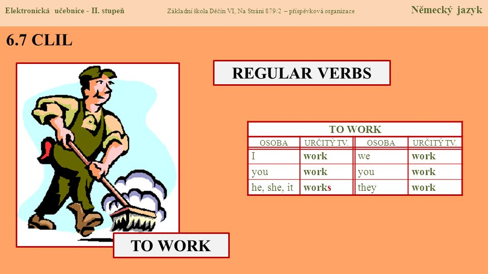 6.7 CLIL REGULAR VERBS TO WORK TO WORK I work we you he, she, it works