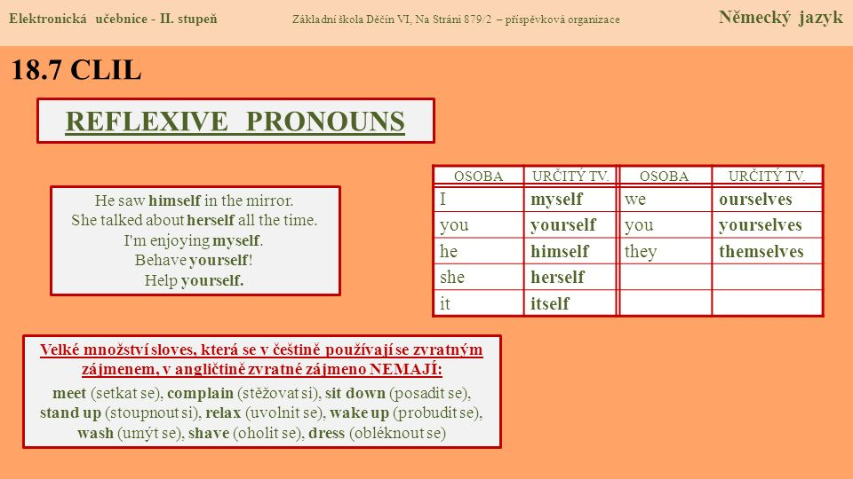 18.7 CLIL REFLEXIVE PRONOUNS I myself we ourselves you yourself