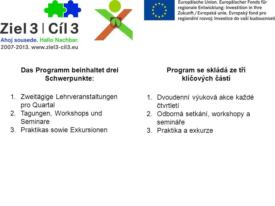 Das Programm beinhaltet drei Schwerpunkte: