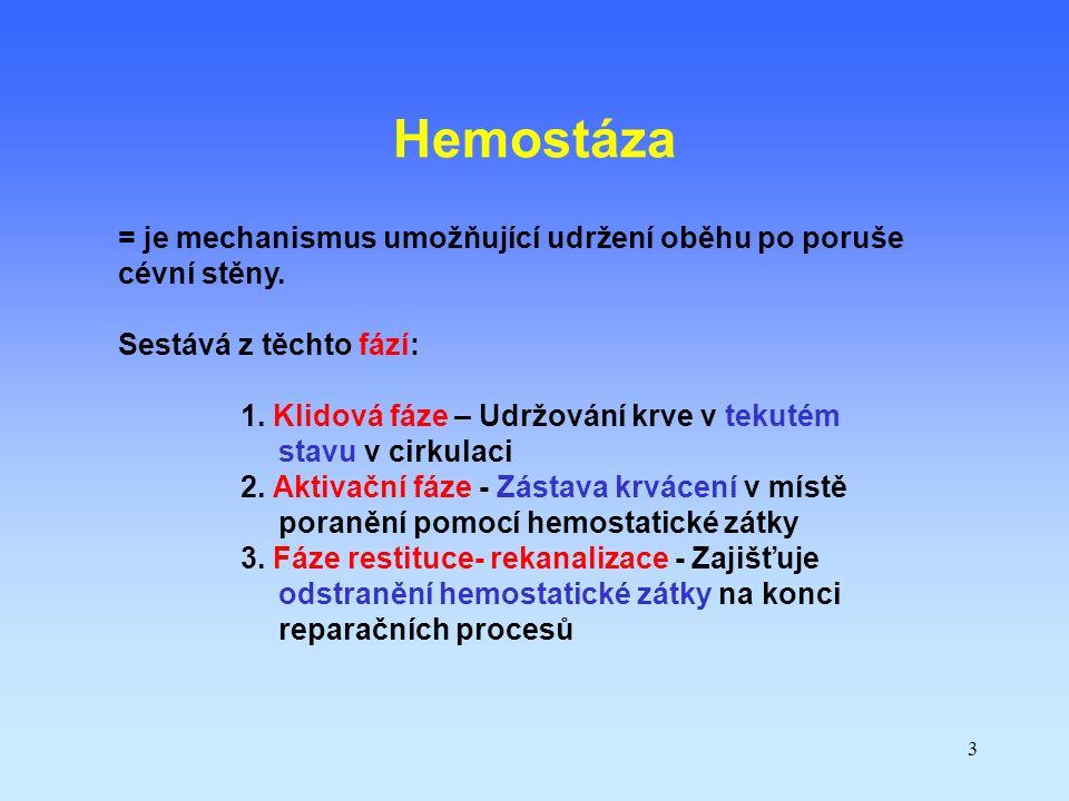 Hemostáza = je mechanismus umožňující udržení oběhu po poruše cévní stěny. Sestává z těchto fází: