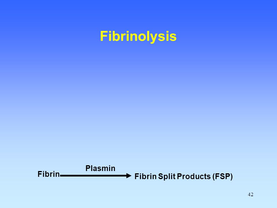 Fibrinolysis Plasmin Fibrin Fibrin Split Products (FSP)