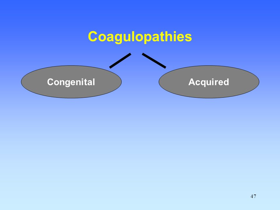 Coagulopathies Congenital Acquired