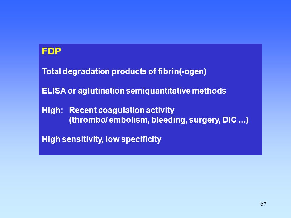FDP Total degradation products of fibrin(-ogen)