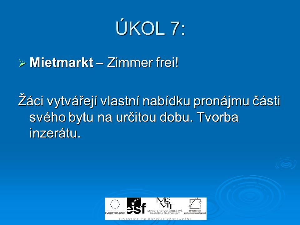 ÚKOL 7: Mietmarkt – Zimmer frei!